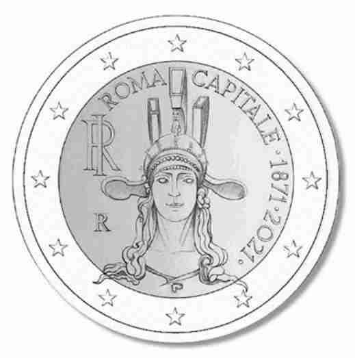 Disegno della moneta da 2 euro creata per i 150 anni di Roma Capitale d'Italia  photo credit: Cronacanumusmatica.com