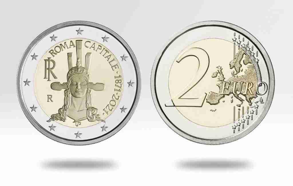Moneta da 2 euro dedicata ai 150 anni di Roma Capitale d'Italia  photo credit: ipzs.it